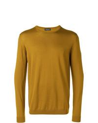 Мужской горчичный свитер с круглым вырезом от Roberto Collina