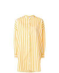 Желтая блуза на пуговицах в вертикальную полоску