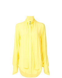 Желтая блуза на пуговицах