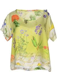 Желтая блуза с коротким рукавом с цветочным принтом