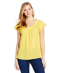 Желтая блуза с коротким рукавом