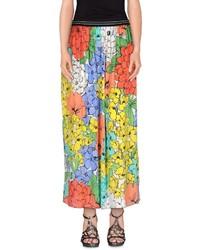 Желтая длинная юбка с цветочным принтом