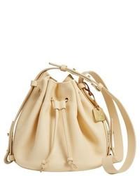 Желтая замшевая сумка-мешок