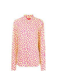 Желтая классическая рубашка в горошек
