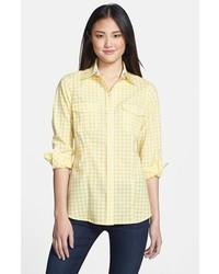 Желтая классическая рубашка в мелкую клетку