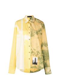 Женская желтая классическая рубашка с принтом тай-дай от Proenza Schouler