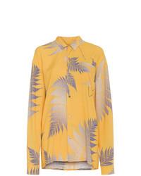 Женская желтая классическая рубашка с принтом от Double Rainbouu