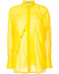 Женская желтая классическая рубашка