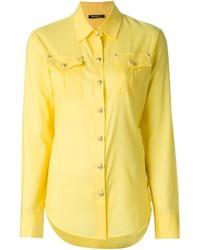 Женская желтая классическая рубашка от Balmain