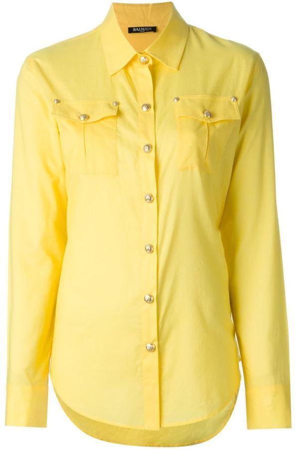 9fa1953355c ... Женская желтая классическая рубашка от Balmain
