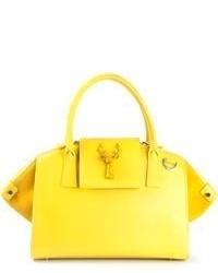 Желтая кожаная большая сумка