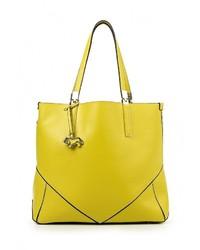 Женская желтая кожаная большая сумка от Labbra