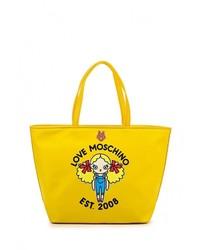 Женская желтая кожаная большая сумка от Love Moschino