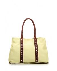 Женская желтая кожаная большая сумка от Moronero