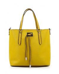 Женская желтая кожаная большая сумка от Tom & Eva