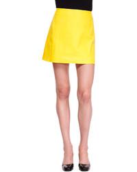 Желтая кожаная мини-юбка