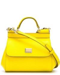 Желтая кожаная сумка-саквояж от Dolce & Gabbana