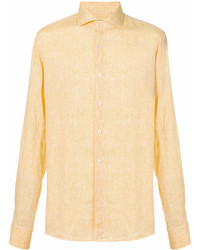 Желтая льняная рубашка с длинным рукавом