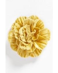 Желтая мужская брошь с цветочным принтом