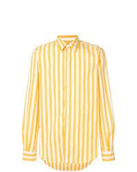 Желтая рубашка с длинным рукавом в вертикальную полоску