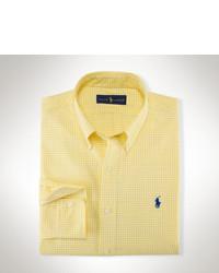 Желтая рубашка с длинным рукавом в мелкую клетку