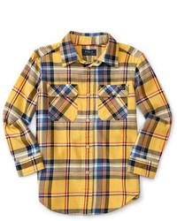 Желтая рубашка с длинным рукавом в шотландскую клетку