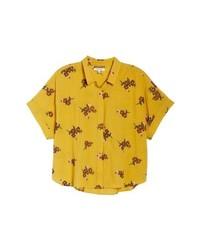 Желтая рубашка с коротким рукавом с принтом