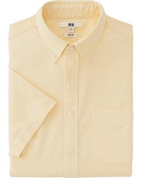Желтая рубашка с коротким рукавом