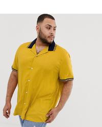 Мужская желтая рубашка с коротким рукавом от ASOS DESIGN
