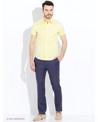 Мужская желтая рубашка с коротким рукавом от Oodji