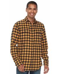 Желтая фланелевая рубашка с длинным рукавом в клетку