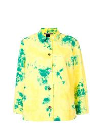 Желтая футболка с длинным рукавом с принтом тай-дай