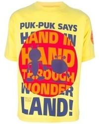 Желтая футболка с круглым вырезом с принтом