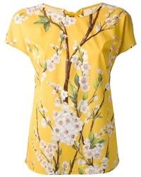 Желтая футболка с круглым вырезом с цветочным принтом