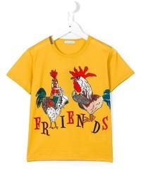 Детская желтая футболка с принтом для мальчику от Dolce & Gabbana