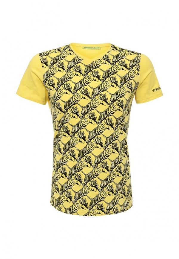 Мужская желтая футболка от Versace Jeans   Где купить и с чем носить 58588ce8ef6