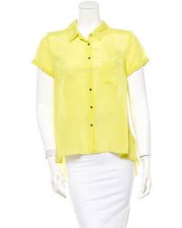 Женская желтая шелковая блуза с коротким рукавом от Elizabeth and James