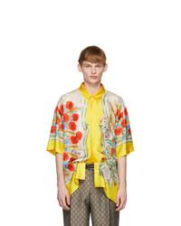 Мужская желтая шелковая рубашка с коротким рукавом с цветочным принтом от Gucci