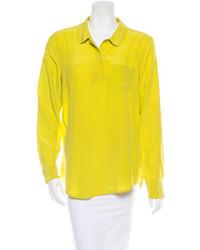 Желтая шифоновая классическая рубашка