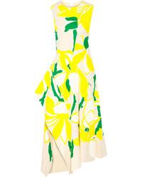 Желтое платье-миди с цветочным принтом