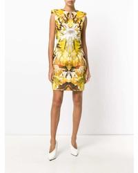 Женское желтое платье-футляр с принтом от Alexander McQueen Vintage
