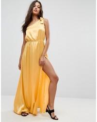 Желтое сатиновое платье-макси