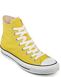 Желтые высокие кеды из плотной ткани