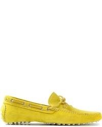 Желтые замшевые лоферы