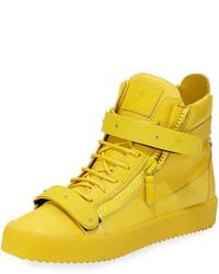 Желтые кожаные высокие кеды