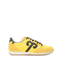 Желтые кожаные низкие кеды