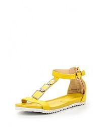 Желтые кожаные сандалии на плоской подошве от Bellamica