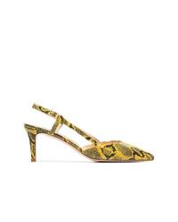 Желтые кожаные туфли со змеиным рисунком