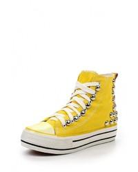 Женские желтые кроссовки на танкетке от Sweet Shoes