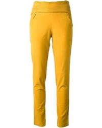 Желтые узкие брюки